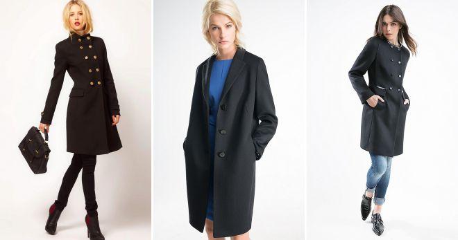 модное черное пальто