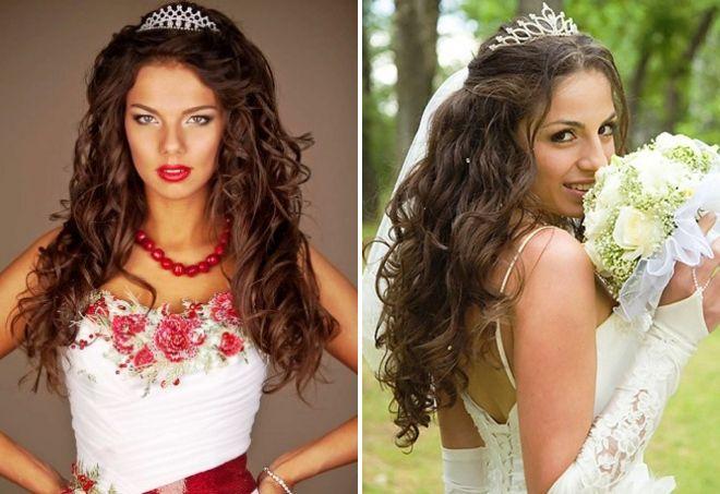 Свадебные прически с распущенными волосами и фатой и диадемой