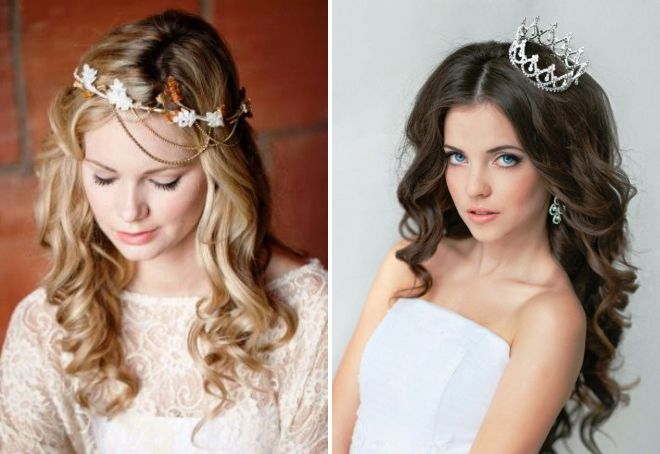 Свадебные причёски с распущенными волосами и диадемой