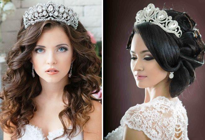 Свадебные прически с короной 2017