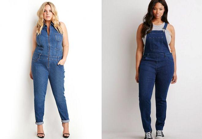 джинсовый комбинезон для полных