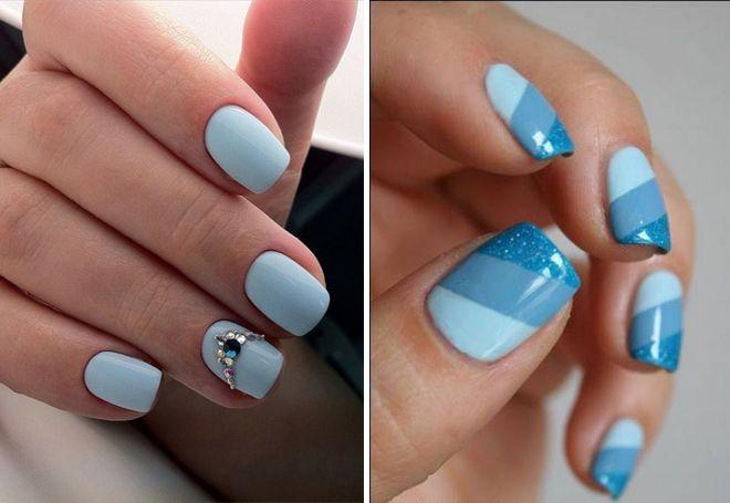 Голубой маникюр на коротких ногтях
