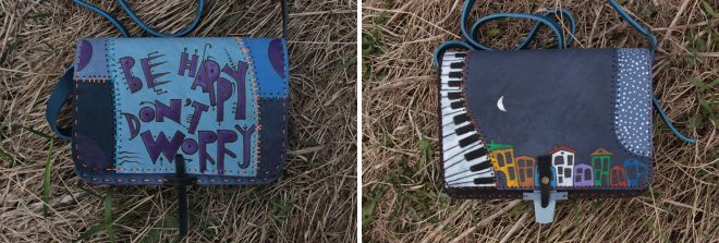 женская кожаная синяя сумка