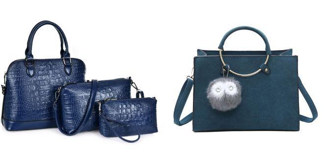 женская кожаная синяя сумка 2017