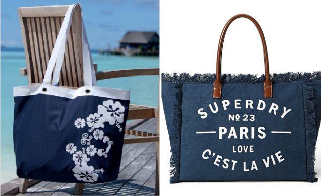 синяя пляжная сумка