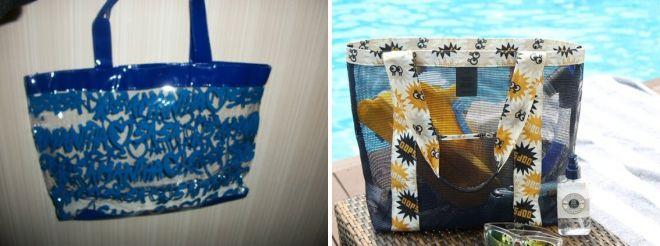 синяя пляжная сумка прозрачная
