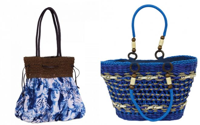 синяя вязаная пляжная сумка