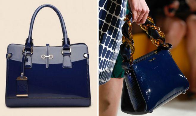 синяя лаковая сумка