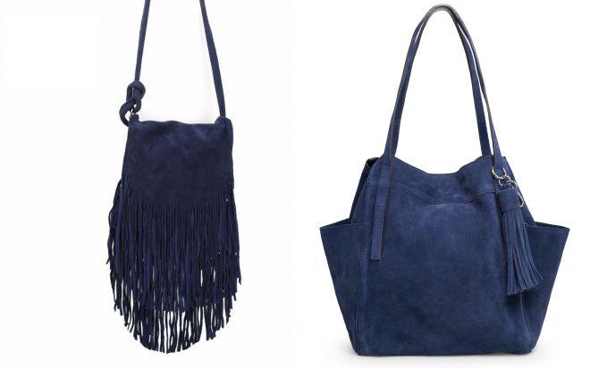 сумка из темно синей замши