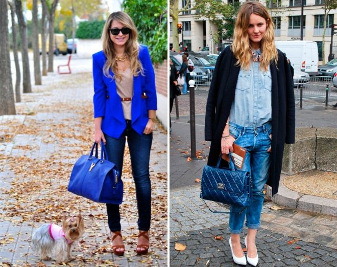 синяя сумка с чем носить