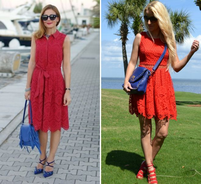 красное платье и синяя сумка