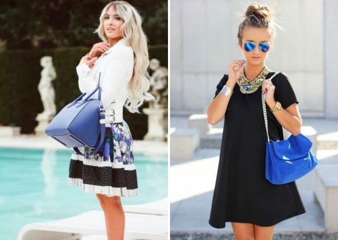 летние образы с синими сумками