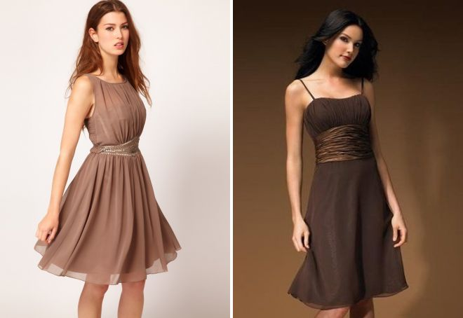 Коричневое короткое платье