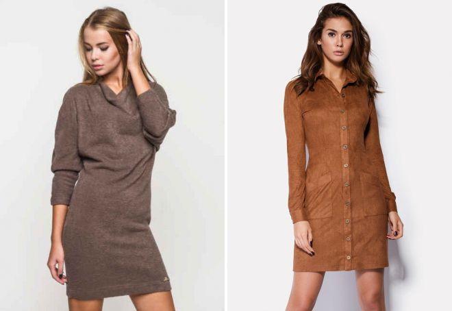 модные коричневые платья