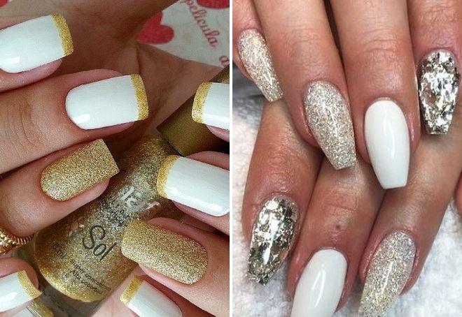 белый дизайн ногтей с блестками