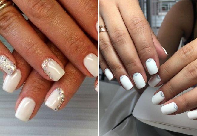 белый маникюр на короткие ногти с блестками