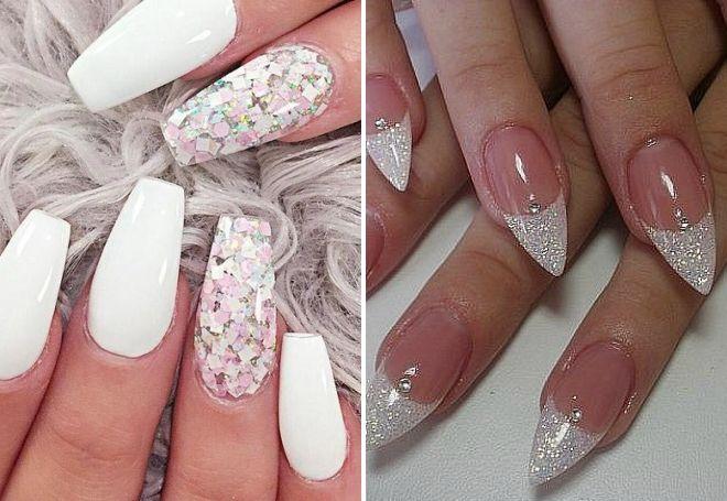 белый маникюр на длинные ногти с блестками