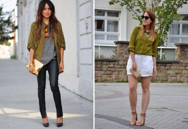 Оливковый цвет в одежде