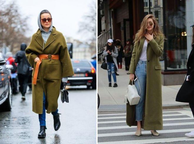 Пальто оливкового цвета