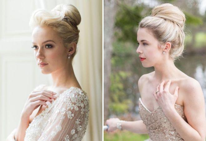свадебные прически пучок на средние волосы