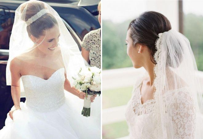 низкая свадебная прическа с фатой