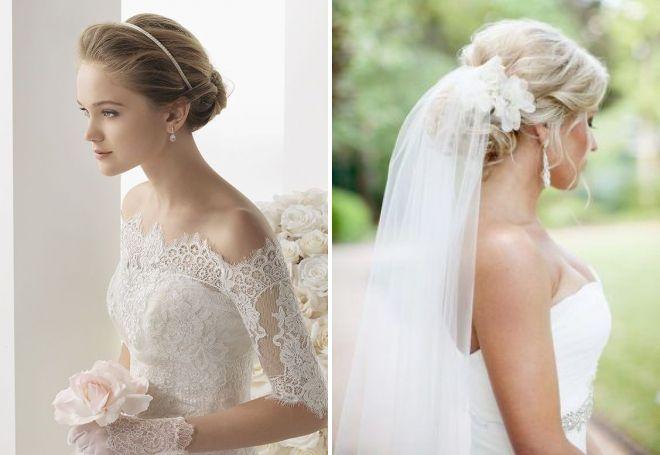 Свадебные причёски низкие с фатой