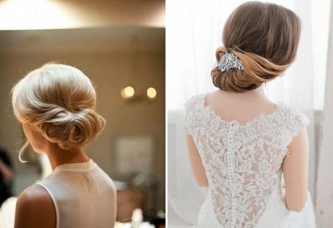 свадебный пучок на средние волосы