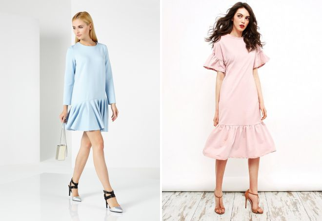 Как носить платье с воланом внизу