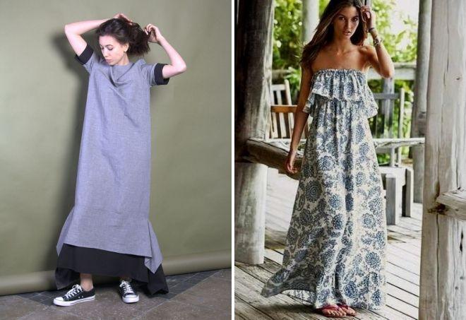 Платье длинное летнее с воланом