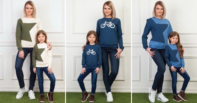 Одинаковые свитера для мамы и дочки