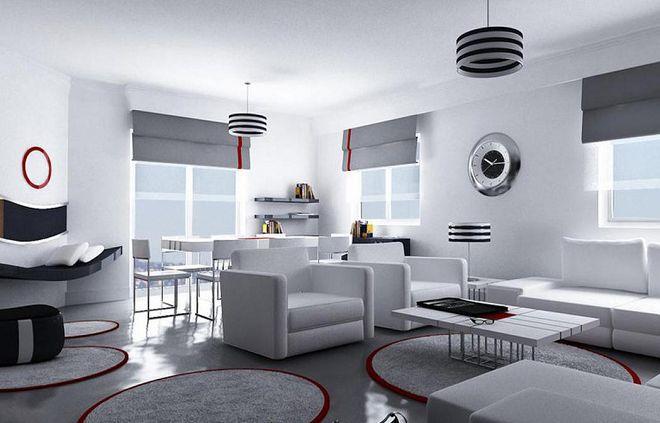белые гостиные в стиле хай тек