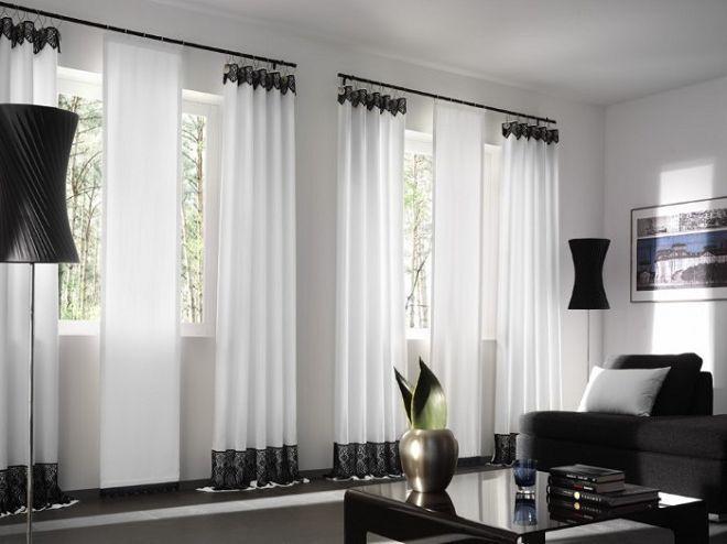белый цвет штор в гостиную
