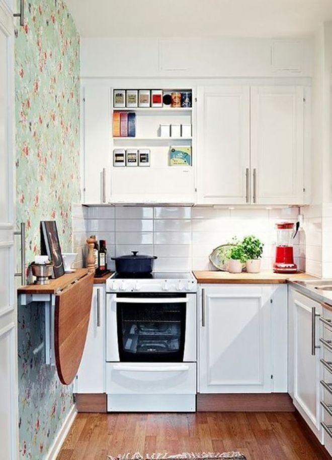 дизайн маленькой кухни обои