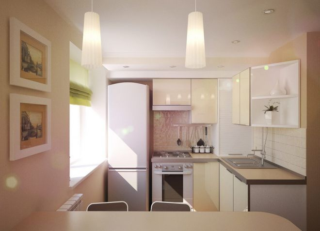 дизайн потолка маленькой кухни