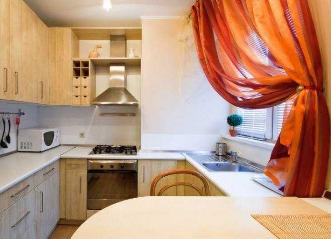 дизайн штор для маленькой кухни