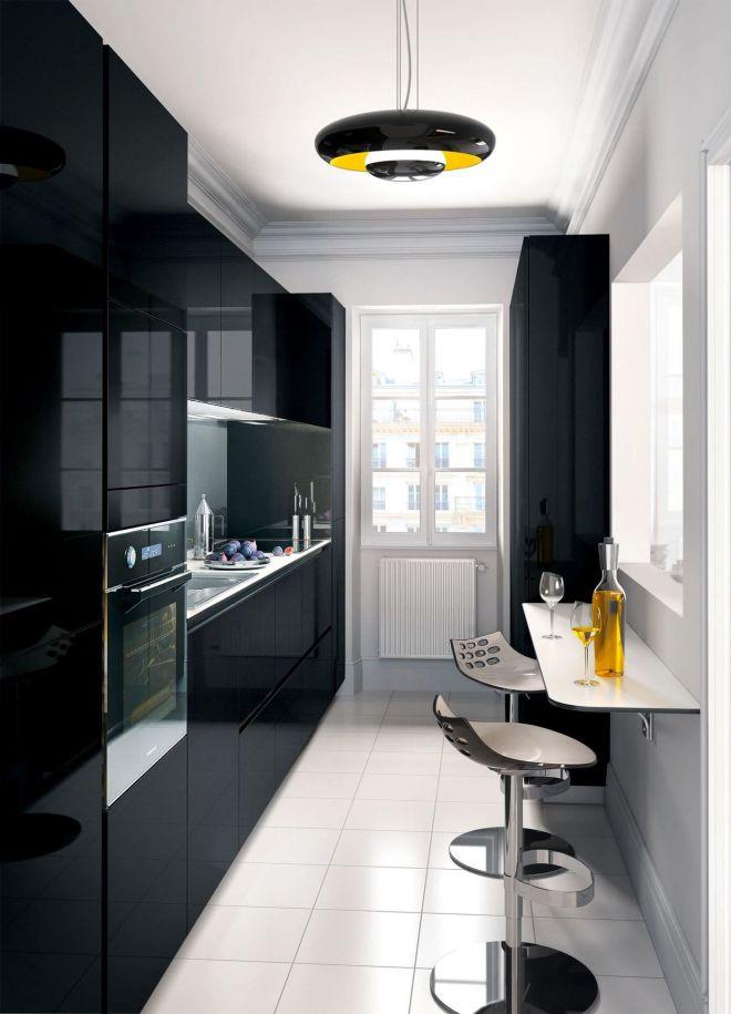 дизайн маленькой черной кухни