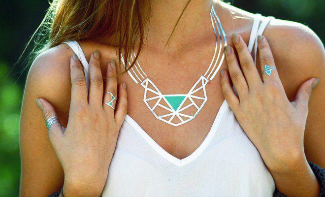 временные татуировки наклейки ожерелье