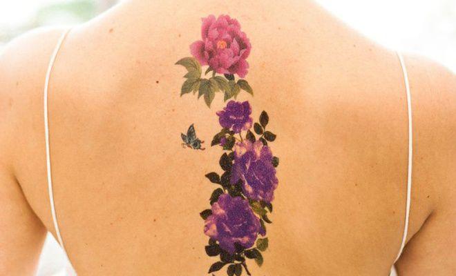 временные тату химической краской на спине