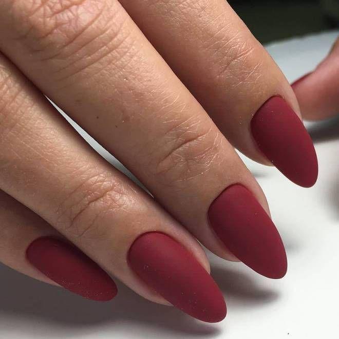 Бордовый маникюр на длинные ногти три