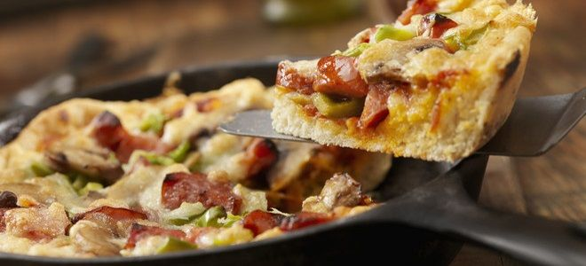 пицца на сковороде с грибами рецепт