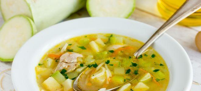 куриный суп с вермишелью и кабачком