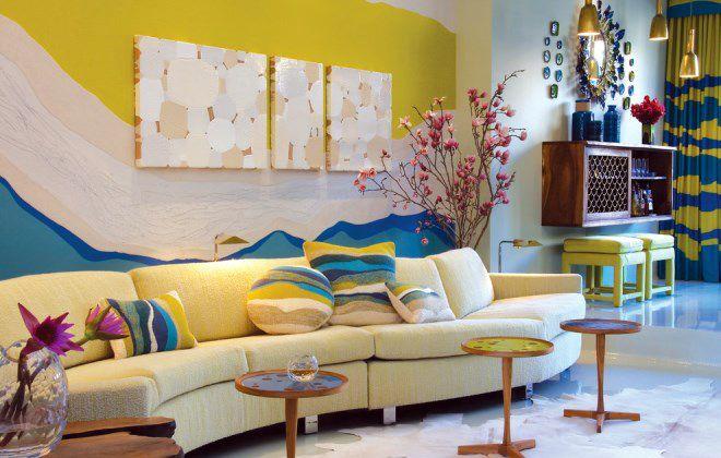 варианты покраски стен разноцветный