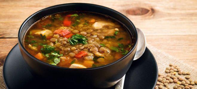 суп с грибами и чечевицей