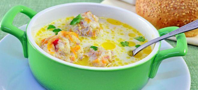 суп с грибами фрикадельками и сыром
