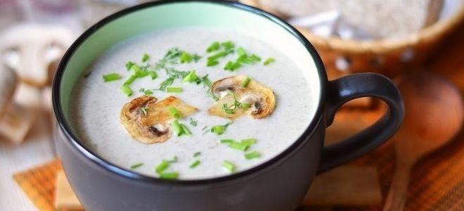 суп с грибами на молоке