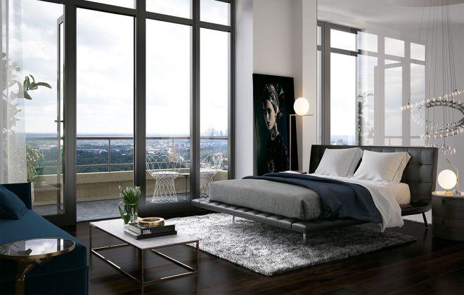 Спальня в пентхаусе зеркало