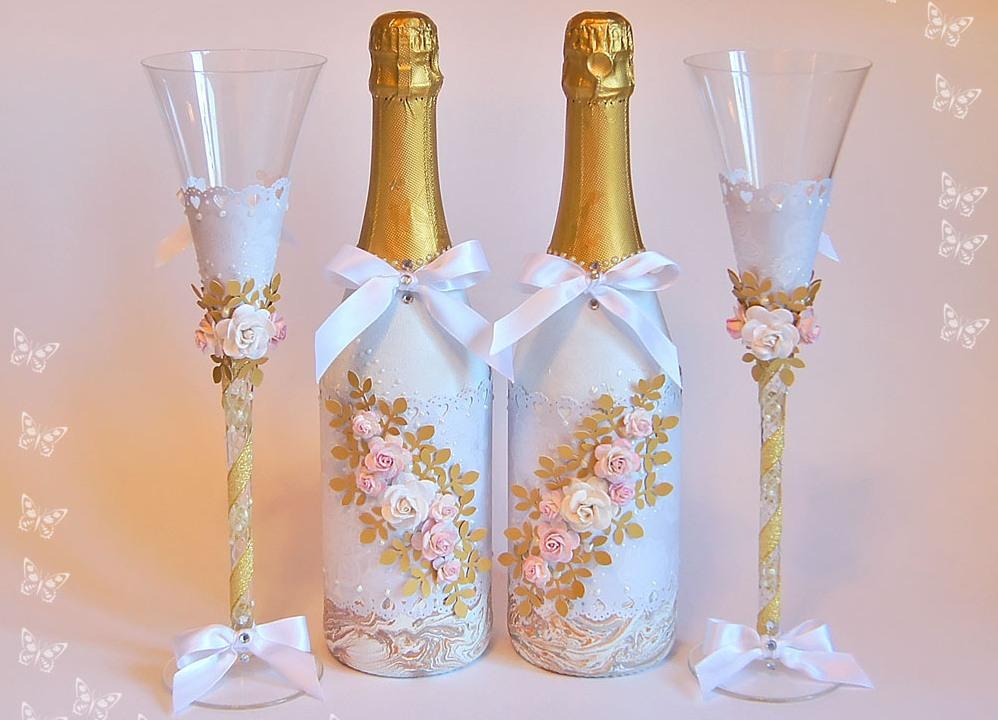 Украшение на свадьбу своими руками бутылки