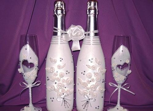 Украшения бутылок на свадьбу лентами