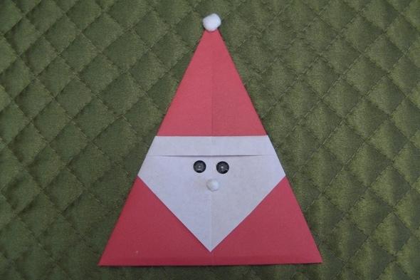 Сделать деда мороза из бумаги оригами