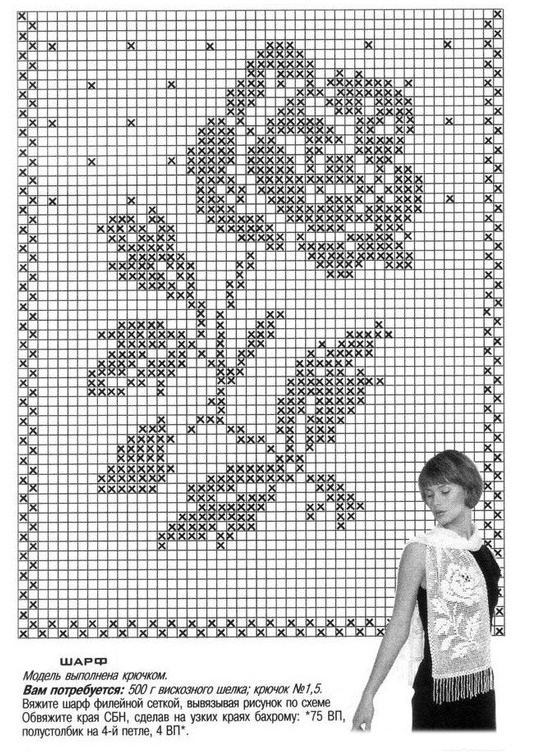 Роза крючком филейной вязки